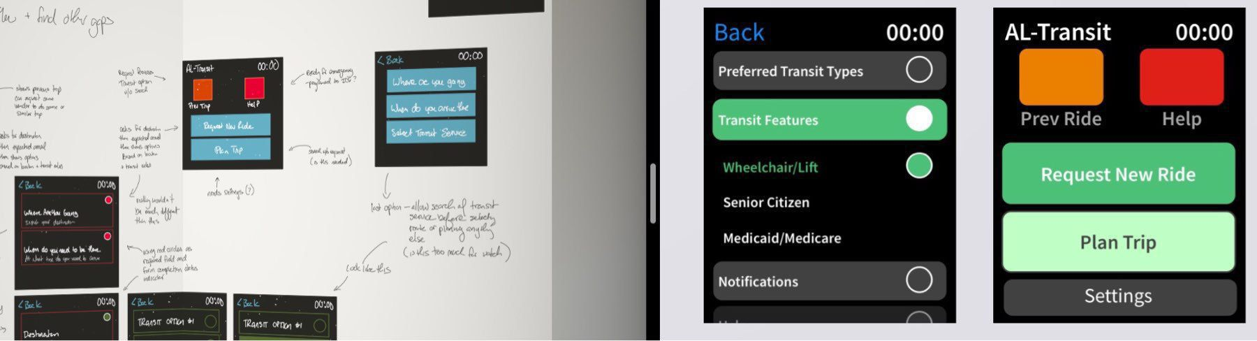 Sketches from disability transit app Concept