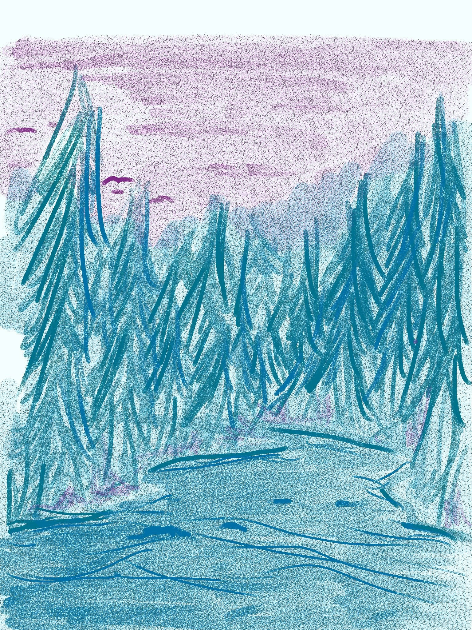 Drawn with Tactilis for ipad, river running thru forest