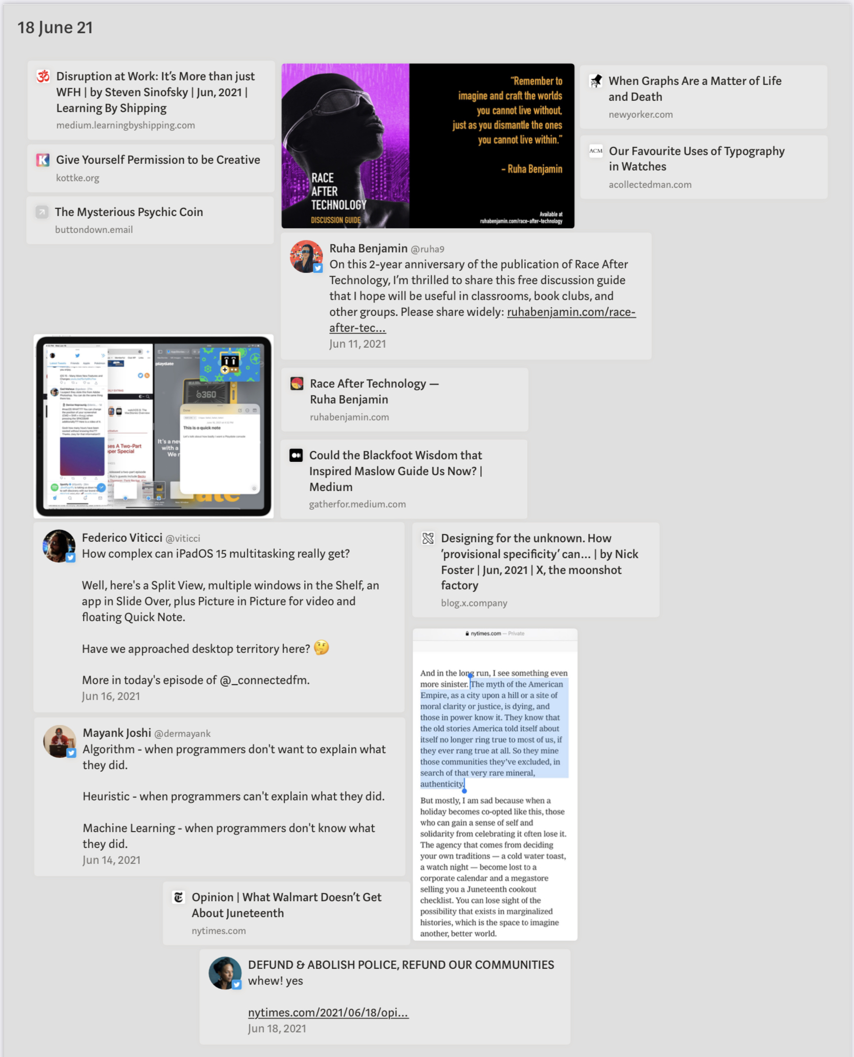Screenshot of interesting Reads which has passed the eyes over the past week